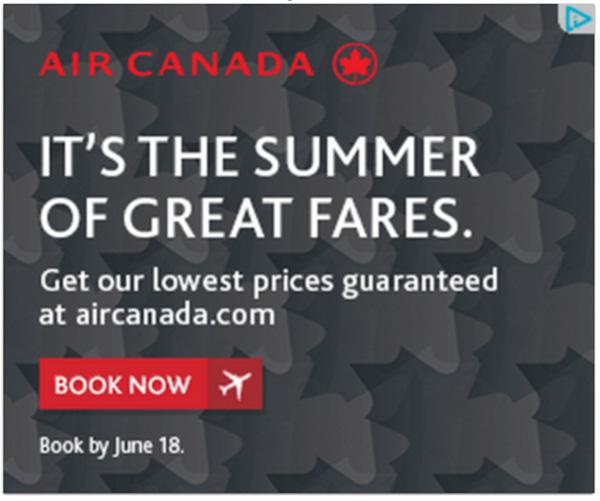 Un annuncio Air Canada con CTA Prenota ora