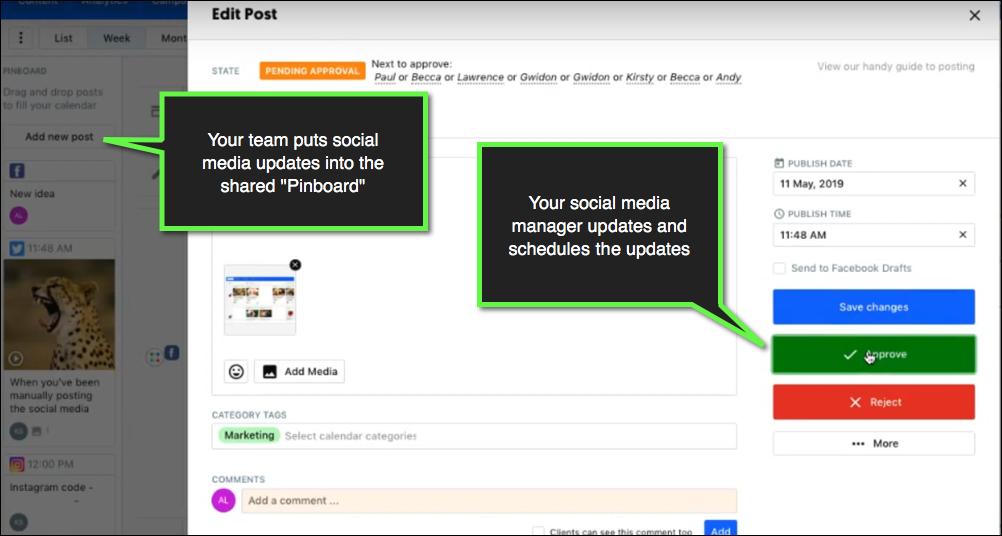 utilizzando il contenuto cal per consentire ad altri di creare tweet per la revisione.