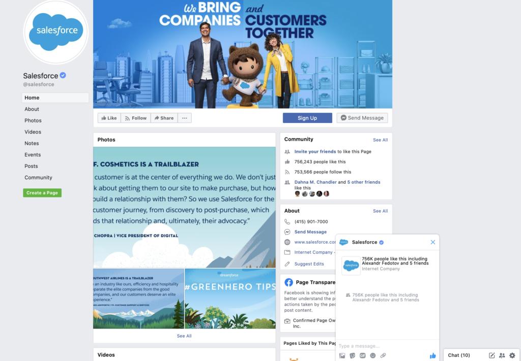 Esempio di Salesforce di Facebook Messenger
