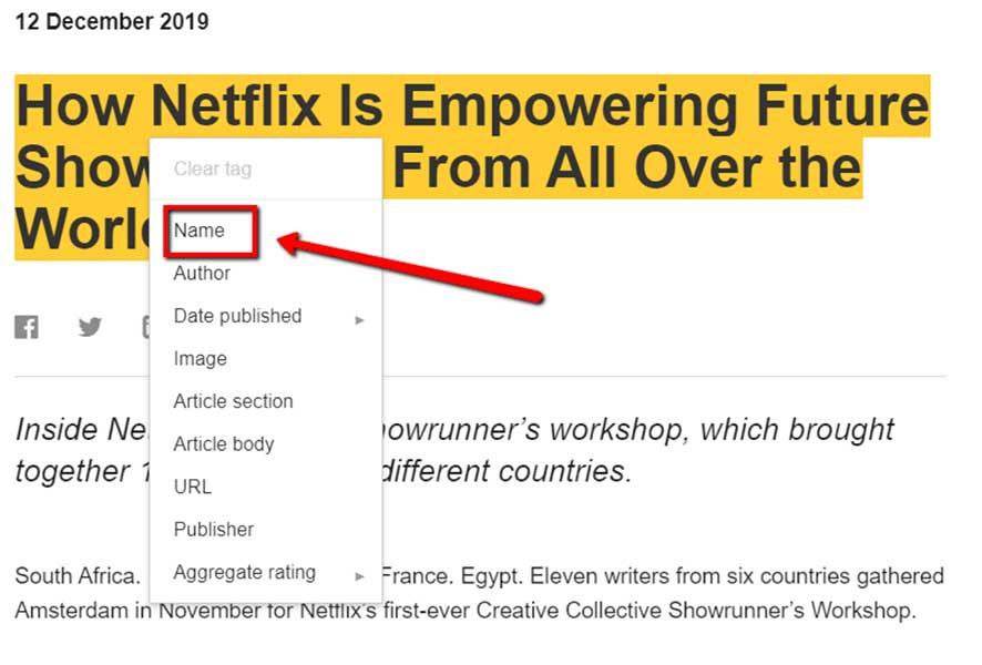 La casella dello schema per creare i dati per il titolo con tag nome, autore, data di pubblicazione, ecc.