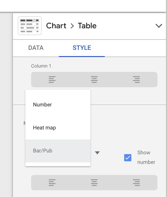 selezionando bar / pub in google data studio.