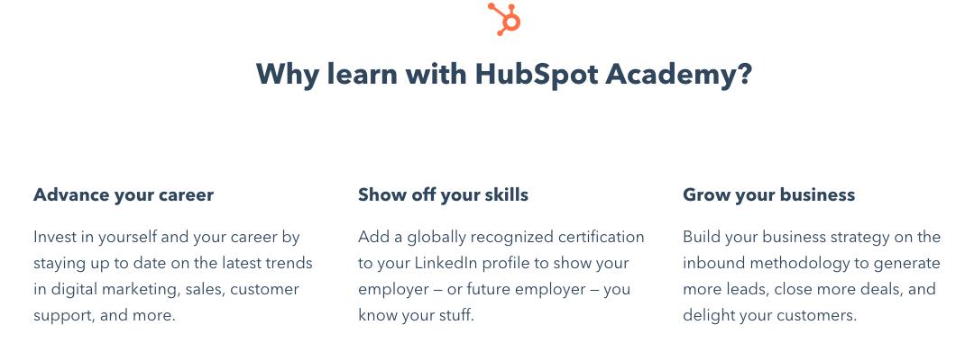 esempio di messaggistica hubspot academy