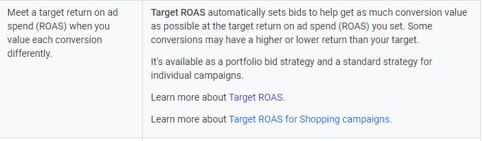 ROAS target
