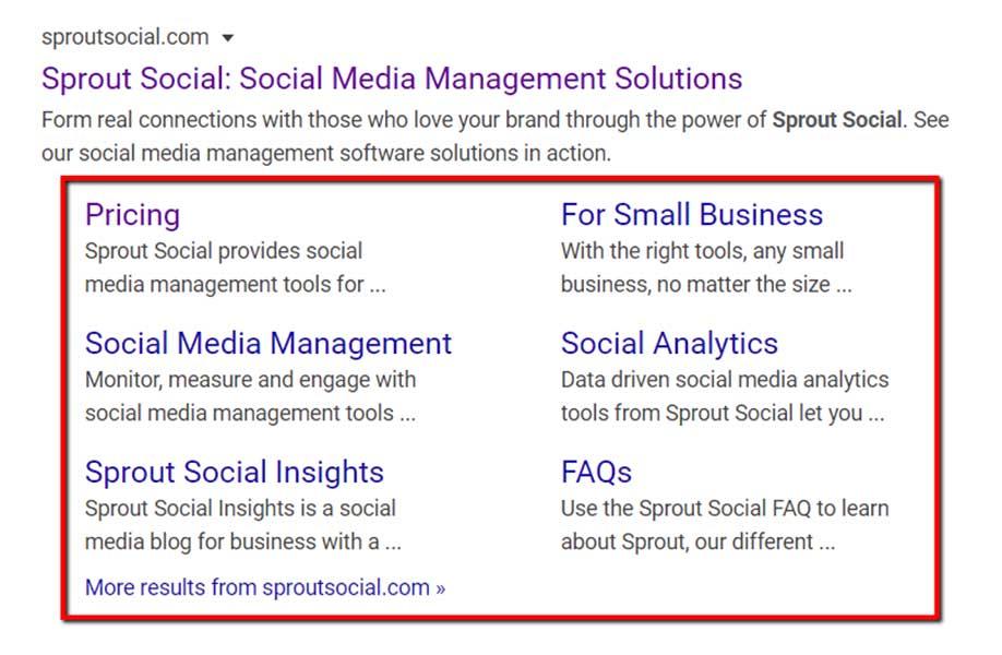 Menu di navigazione dei risultati di ricerca di Sprout Social (Prezzi, Gestione dei social media, ecc.)