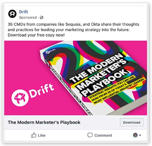 Drift annuncio di Facebook con uno sfondo rosa brillante