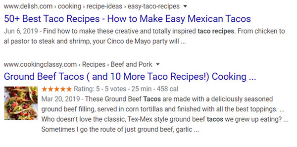 Due esempi di risultati di ricerca per ricette di taco uno con un'immagine e uno senza