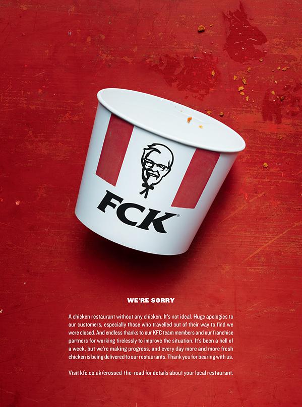 L'annuncio KFC utilizza umorismo e umiltà per scusarsi con i propri clienti.