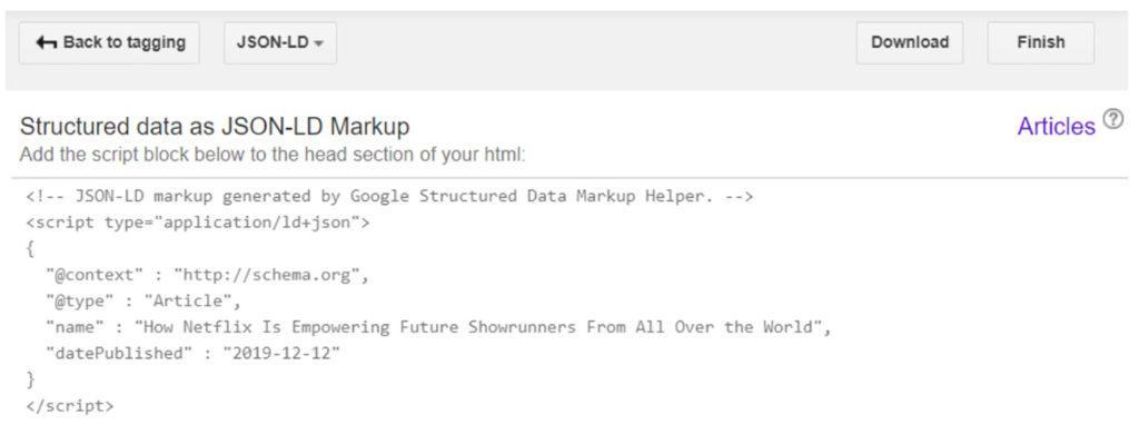 Il codice HTML necessario per il markup