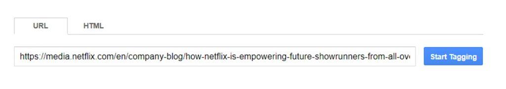 Un esempio di URL incollato in un modulo schema con il pulsante