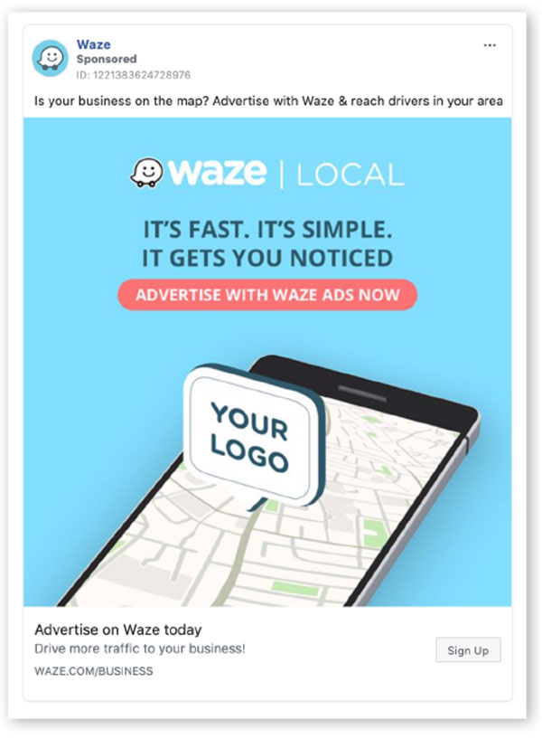 Waze annuncio di Facebook con brillanti colori blu e rosa