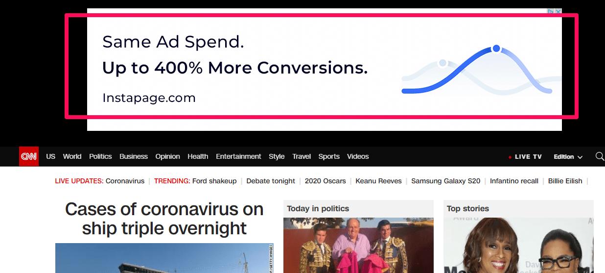 Pubblicità eCommerce - Esame dell'annuncio display google CNN
