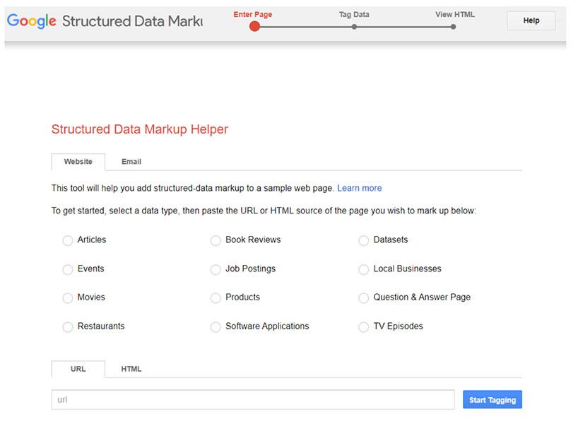 Assistente per il markup dei dati strutturati di Google
