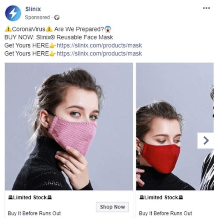 Annunci Facebook di Coronavirus