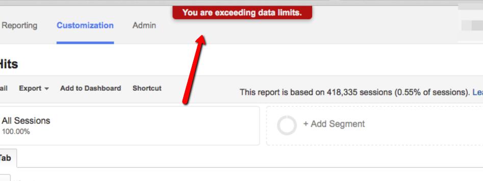 superamento dei limiti di dati google analytics.