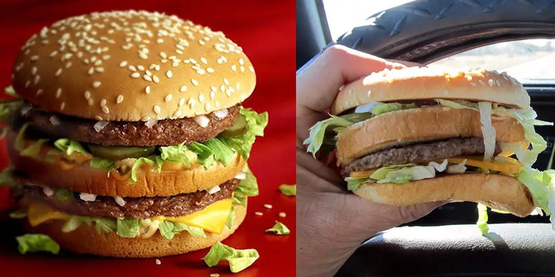 rappresentazione dell'hamburger contro realtà.