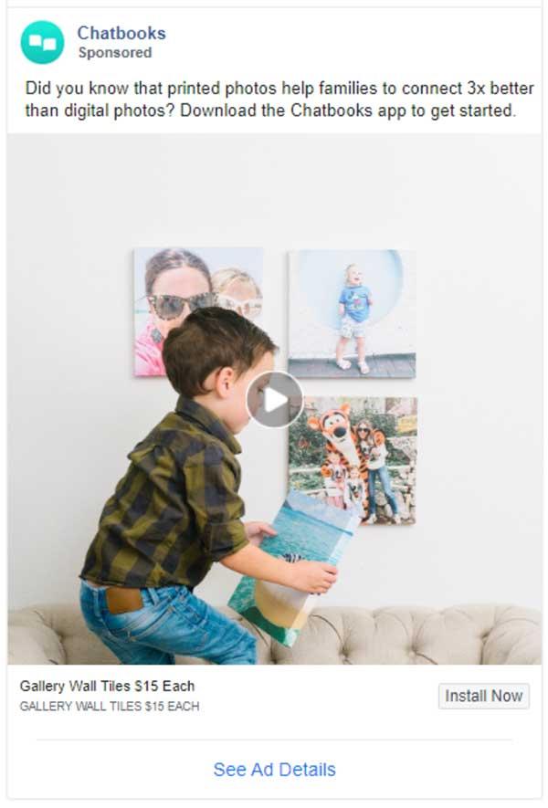 Hook di annunci dei chatbook: sapevi che le foto stampate aiutano le famiglie a connettersi 3 volte meglio delle foto digitali?