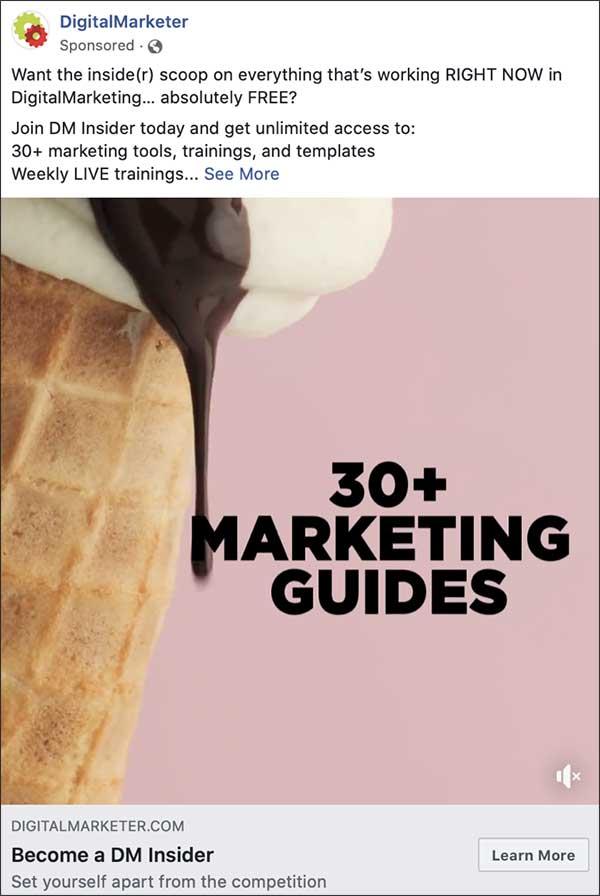 L'annuncio Facebook di DigitalMarketer con il titolo,