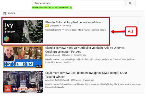 Esempio di annuncio di scoperta sulla homepage di Youtube per BlenderKit