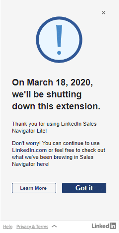 "LinkedIn che chiude Sales Navigator Estensione di Gmail ""width ="" 499 ""height ="" 977 ""srcset ="" https://www.smartinsights.com/wp-content/uploads/2020/02/LinkedIn-shutting-down-Sales-Navigator -Gmail-extension.png 499w, https://www.smartinsights.com/wp-content/uploads/2020/02/LinkedIn-shutting-down-Sales-Navigator-Gmail-extension-77x150.png 77w, https: / /www.smartinsights.com/wp-content/uploads/2020/02/LinkedIn-shutting-down-Sales-Navigator-Gmail-extension-204x400.png 204w ""dimensioni ="" (larghezza massima: 499px) 100vw, 499px"