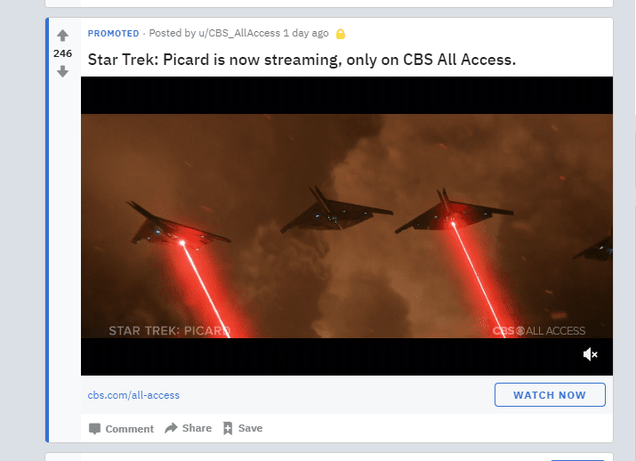 PPC marketing - Esempio di annuncio Reddit