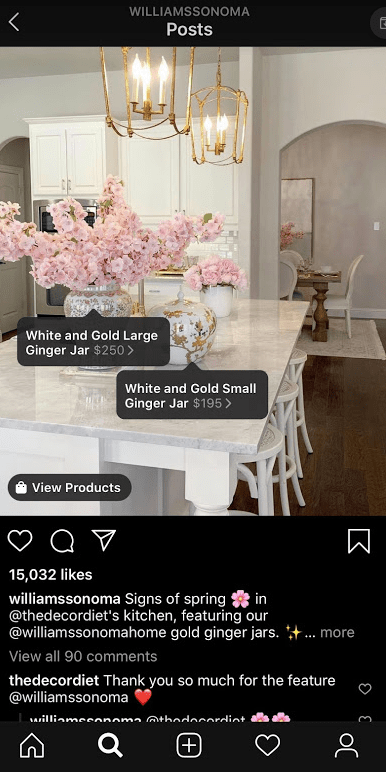 Pubblicità e-commerce - esempio di un post di Instagram su Williams Sonoma