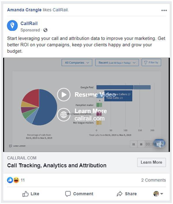 Annuncio di retarget Facebook di CallRail