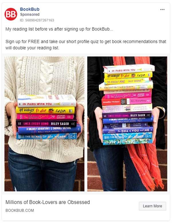Annuncio Facebook di BookBub