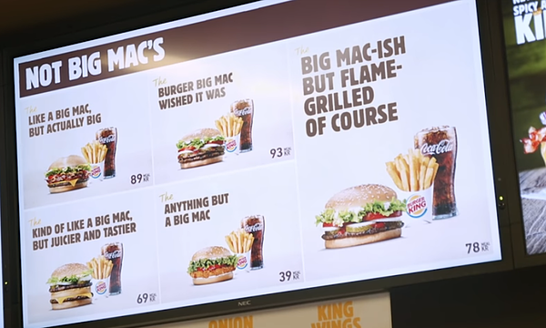 Menu Big-MacIsh nel newsjacking Burger King
