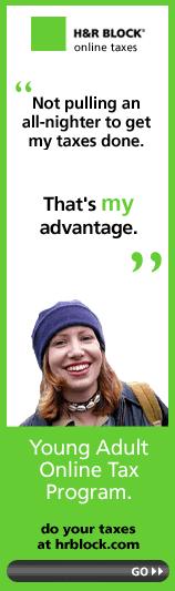 esempio di uso eccessivo di foto d'archivio di donna in banner banner hr block.