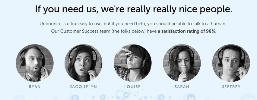 esempio di pagina del servizio clienti con immagini di persone reali.
