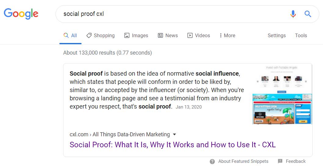 """esempio di snippet in primo piano con ricerca nel sito implicita. """"width ="""" 750"""