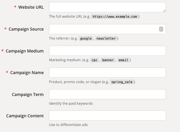 Tag UTM, UTM URL Builder