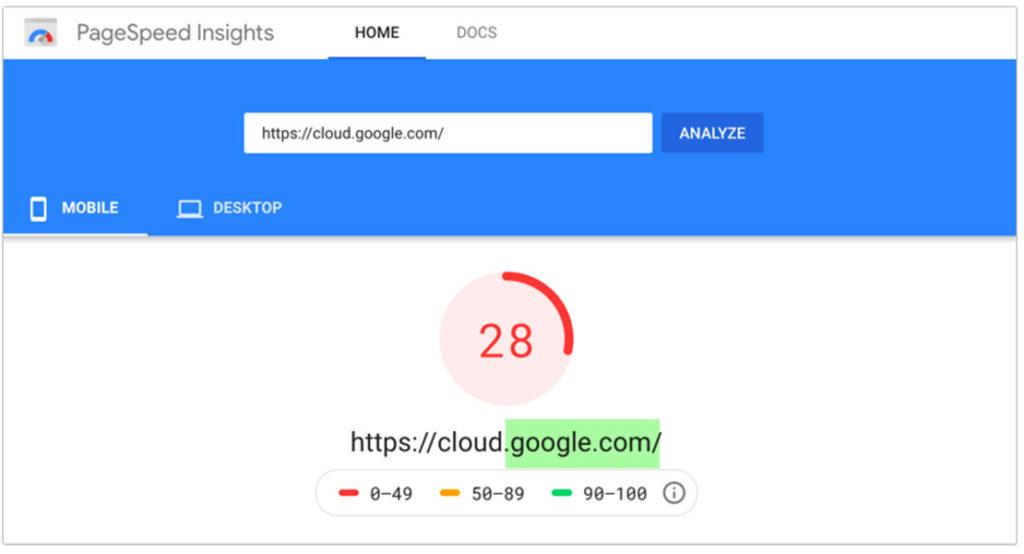 Un esempio di punteggio PageSpeed Insights di 28