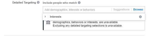 Visualizzazione di targeting dettagliata per gli annunci della categoria di annunci speciali di Facebook