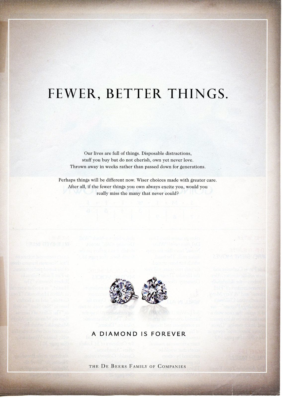 esempio di annuncio pubblicitario durante la recessione.