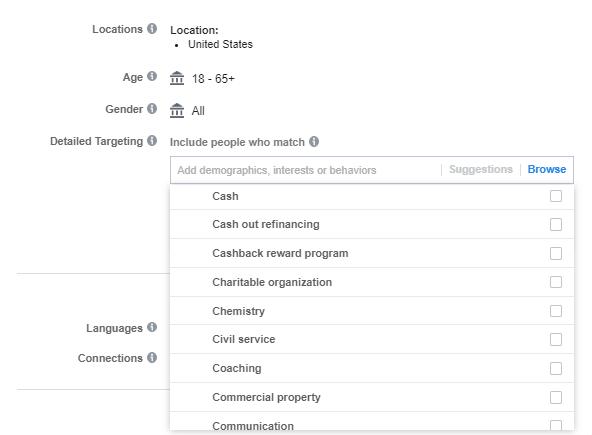 Targeting per interessi di Facebook
