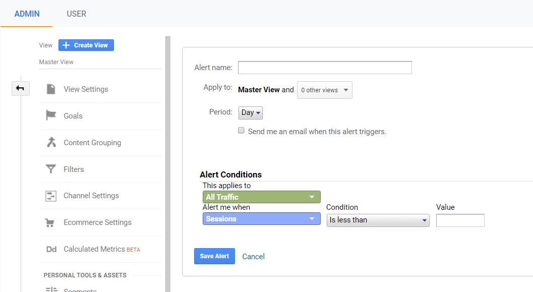 creazione di un avviso personalizzato in Google Analytics.