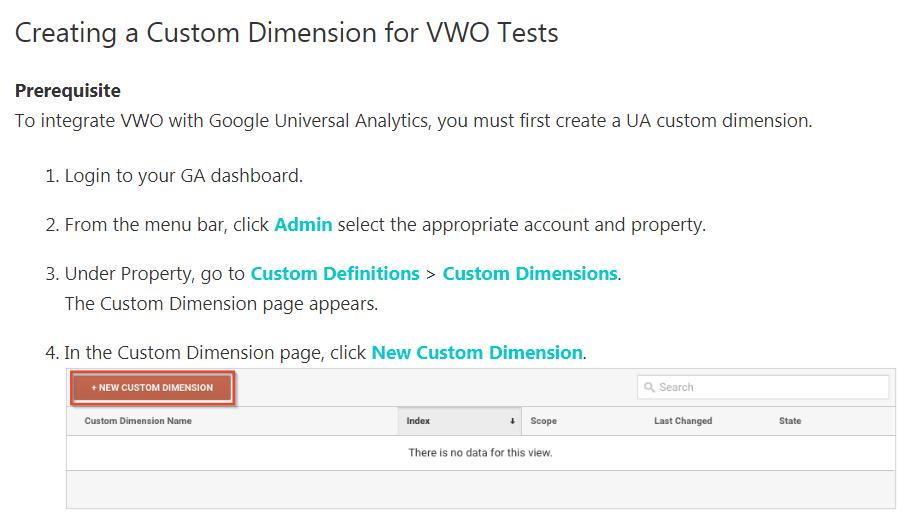 la documentazione di vwo sulla configurazione di segmenti in Google Analytics.