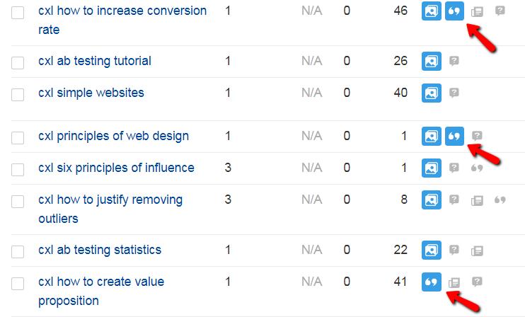 funzionalità di monitoraggio serp per ricerche implicite sul sito.