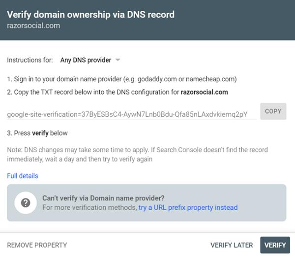 verifica dominio