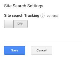 Impostazioni di ricerca del sito di Google Analytics