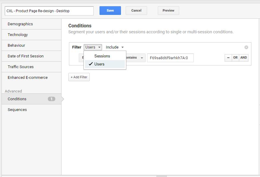 passaggio da segmenti di sessione a segmenti di utenti in Google Analytics.