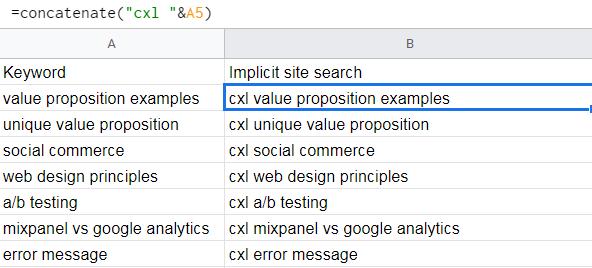 creazione di una ricerca del sito implicita in un foglio di calcolo basato su parole chiave esistenti.