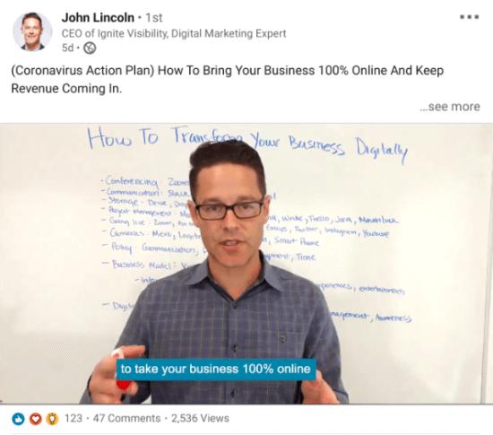 "Video John Lincoln ""width ="" 550 ""height ="" 485 ""srcset ="" https://www.smartinsights.com/wp-content/uploads/2020/03/Screenshot-2020-03-31-at-10.11.34 -550x485.png 550w, https://www.smartinsights.com/wp-content/uploads/2020/03/Screenshot-2020-03-31-at-10.11.34-150x132.png 150w, https: // www .smartinsights.com / wp-content / uploads / 2020/03 / Screenshot-2020-03-31-at-10.11.34-250x221.png 250w, https://www.smartinsights.com/wp-content/uploads/ 2020/03 / Screenshot-2020-03-31-at-10.11.34.png 594w ""dimensioni ="" (larghezza massima: 550px) 100vw, 550px"