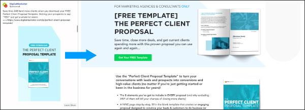 Un esempio di un'offerta di DigitalMarketer, il modello di proposta del cliente perfetto