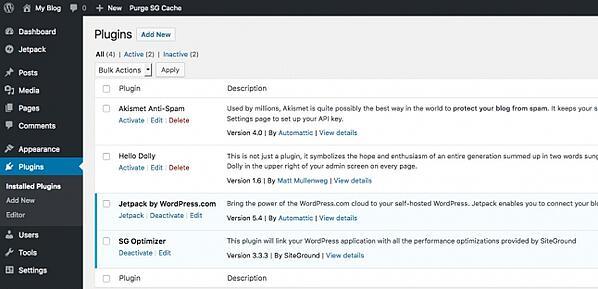 Plugin di WordPress installati sul sito