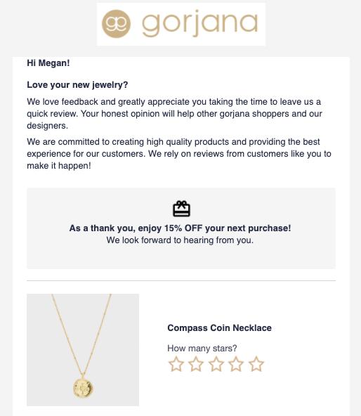 Email di recensione di Gorjana