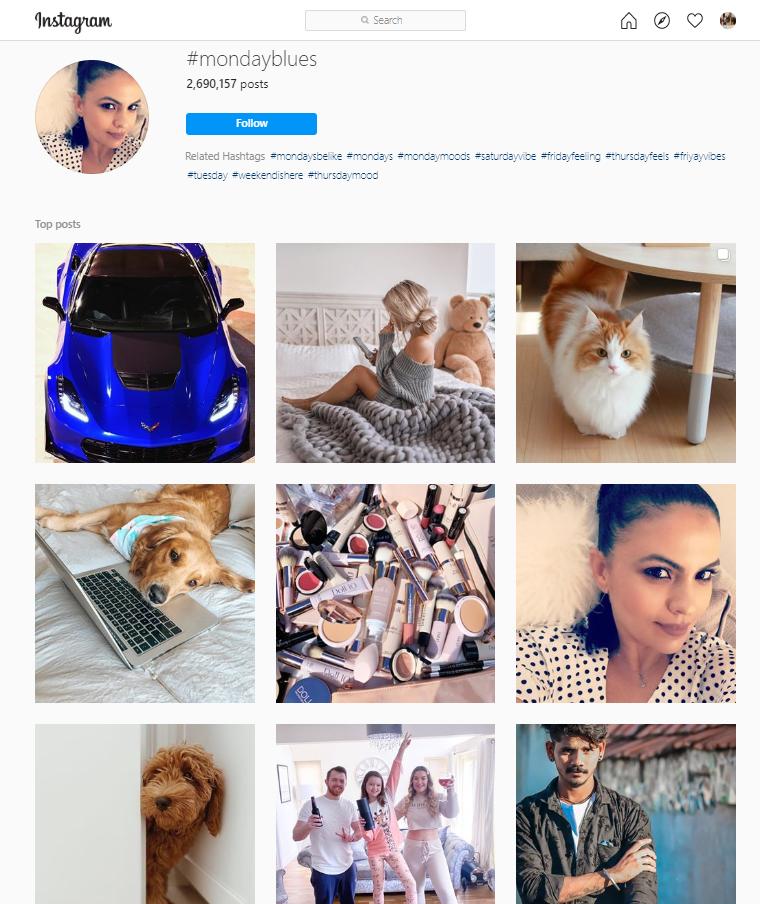 Hashtag di Monday Blues su Instagram