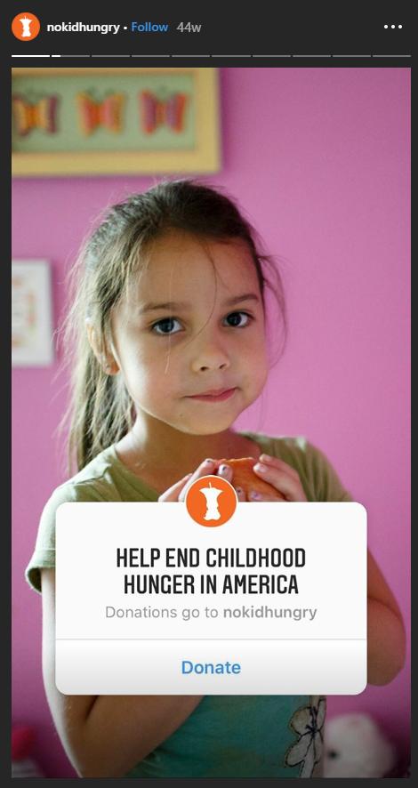 Pulsante per la donazione di storie di Instagram