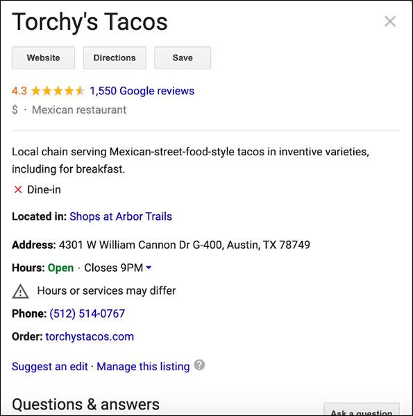 esempio grafico conoscenza google
